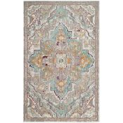 World Menagerie,Ascuaga's Vintage Inspired Grey/Light Blue Rug (90x150CM) RRP -£ 106.99(18267/2 -