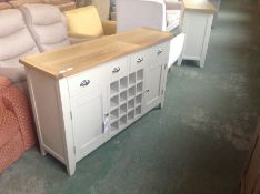 Chester Grey Painted Oak 2 Door Large Sideboard With Wine Rack (DAMAGE) (CH3C-NC-LS-PT)