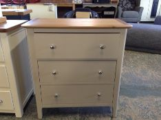 BERGEN PAINTED 3 DRAWER CHEST (DAMAGE)(CB15B NTP-3DC)