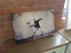 East Urban Home,Banksy Flower Thrower Graffiti Graphic Art on Canvas RRP -£29.99 (JKT83869 -15055/