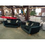 GREEEN VELVET 3 SEATER SOFA AND 2 SEATER SOFA (HH15-