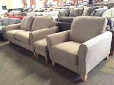BROADWAY TEXTURED WEAVE TAUPE 3 SEATER AND CHAIR A