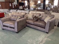 BEIGE SADDLE 3 SEATER SOFA 2 SEATER SOFA AND CHAIR