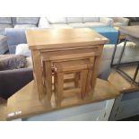 Rustic Oak Nest of 3 Tables (DAMAGE) (CH37C-NC-N3T
