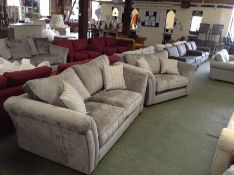 EX SHOWROOM GREY PATTERNED 3 SEATER SOFA AND SNUG