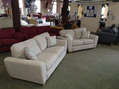 GREY PATTERNED 3 SEATER SOFA AND 2 SEATER SOFA (HH
