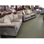 EX SHOWROOM GREY PATTERNED SPLIT 4 SEATER SOFA AND