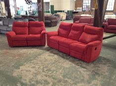 RED HIGH BACK ELECTRIC RECLINING 3 SEATER SOFA & 2