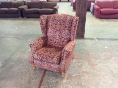 RED FLORAL PATTERN ELECTRIC RECLINING WING CHAIR (