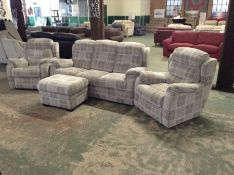 GREY CHECKED HIGH BACK 3 SEATER SOFA CHAIR ELECTRI
