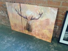 Home Loft Concept,Large Stag in Forest 3 Piece Graphic Art Print Set on Canvas RRP £64.99(10043/61