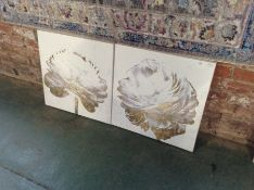 Oliver Gal,'White and Gold Light Floral' 2 Piece Graphic Art Print Set on Wrapped Canvas RRP £169.