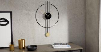 | x1 | Rowell Pendulum Clock 45 x 60cm, Black & Brass| RRP £49 | MAD-CLKROW001BLK-UK | (W40-47-7)