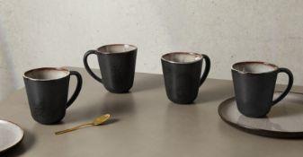 | x1 | Krisha Set of 4 Reactive Glaze Mugs, White Speckle & Charcoal| RRP £39 | MAD-DWRKRI003WHI-UK