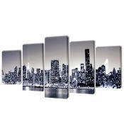 dCor design, Monochrome New York 5 Piece Graphic Art Print Set on Canvas - RRP £53.99 (DNOR7236 -