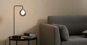 | x1 | Jonas Floor Lamp, Black, Brass and Smoked Glass| RRP £69 | MAD-FLPJON002BLK-UK | (W40-47-14)