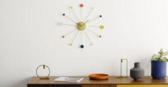 | x1 | Sputnik Large Wall Clock 50cm, Multicoloured| RRP £29 | MAD-CLKSPU002MUL-UK | (W40-47-8) 1D