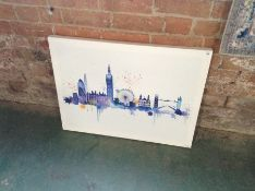 Riley Ave.,London Skyline' Watercolour Painting Print on Canvas RRP £30.22(10043/13 ARTG1181)