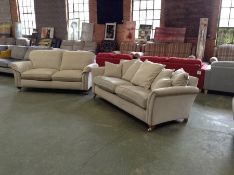 NATURAL FABRIC 3 SEATER SOFA & 2 SEATER SOFA (WORN