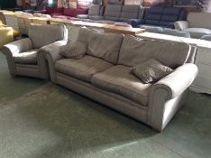 SILVER PATTERNED 2 SEATER SOFA & CHAIR (WORN) (TR0