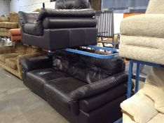 BLACK LEATHER SPLIT 4 SEATER SOFA AND CHAIR