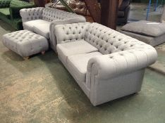 TWEEDY WEAVE LIGHT GREY CHESTERFIELD 3 SEATER (SFL1111-700215705909) TWEEDY WEAVE LIGHT GREY