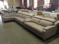 GREY FABRIC ELECTRIC RECLINING 5 PART CORNER GROUP