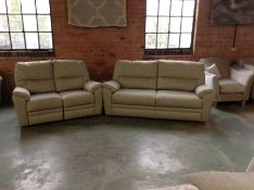GREEN PATTEREND HIGH BACK 3 SEATER SOFA & ELECTRIC
