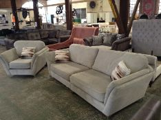 GREY FABRIC SPLIT 4 SEATER & CHAIR