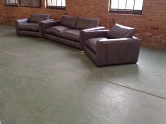 EX SHOWROOM GREY LEATHER 3 SEATER SOFA & 2 SNUG CH