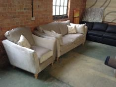 BEIGE FABRIC 3 SEATER SOFA & CHAIR (WM14)