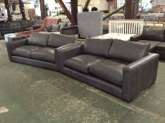 EX SHOWROOM GRAPHITE LEATHER 3 SEATER & SEATER SOF