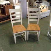 Chester Grey Painted Oak Slat Back Dining Chair With Wooden Seat(DAMAGED)(NC-CH-PT-E72) X 2