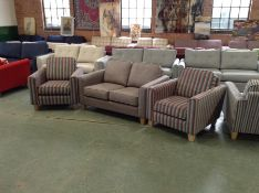 PORTO BEVAN BROWN 2 SEATER SOFA AND 2 X COMO STRIP