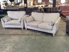 GREY FABRIC 3 SEATER SOFA & SNUG CHAIR