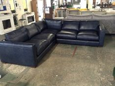 EX SHOWROOM BLUE LEATHER 3 PART CORNER GROUP (WM13