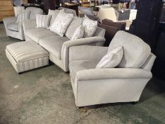 GREY FABRIC 3 SEATER, 2 CHAIRS & STRIPED FOOT STOO