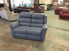 BLUE LEATHER HIGH BACK 2 SEATER SOFA (776775)