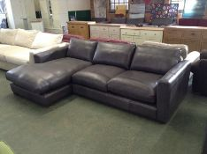 EX SHOWROOM GREY LEATHER 2 SEATER CHAIS WM13