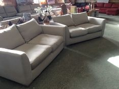 2X BEIGE 2 SEATER SOFAS (WM14) (DIRTY MARKS)