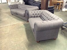 TWEEDY WEAVE DARK GREY CHESTERFIELD 4 SEATER (SFL1106-700196438731)TWEEDY WEAVE DARK GREY