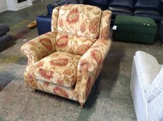 RED & GOLD FLORAL PATTERNED CHAIR (TR002029 W00565