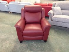 RED LEATHER CHAIR (STICHING LOOSE ON SIDE OF CHAI