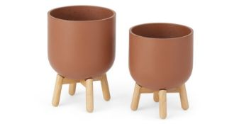 | x1 | Jouko Set of 2 Fibre Cement Plant Pots With Rubberwood Legs, Terracotta & Natural| RRP £59 |