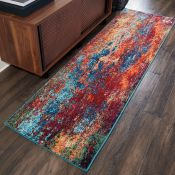 Bloomsbury Market Bayport Blue/Orange/Red Rug (160x160cm)(LOWV2051 - 16851/42)