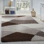17 Stories,Fraiture Shag Brown/Beige/Cream Rug - RRP £51.99 (160x220cm) (ALAS6596 -16899/3)