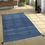 World Menagerie,Eastleigh Handmade Kilim Cotton Blue Rug - RRP £48.99 (70x140cm) (ALAS6664 -16899/