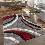 Metro Lane,Corine Grey/Red Rug - RRP £28.99 (120x170cm) (ALAS6522 -16899/17)