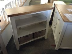 Suffolk White Painted Oak Small Wide Bookcase (F80 - -TT-SWB-W) (DAMAGE FRONT)