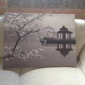 East Urban Home,Lovely Cherry Blossom by Japanese Lake A Photographic Print on Canvas RRP -£94.99(